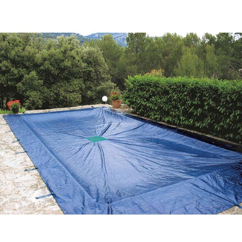 Werkapro - Telo di Protezione per Piscina, Rettangolare, 8 x 14, colore  Blu Marino