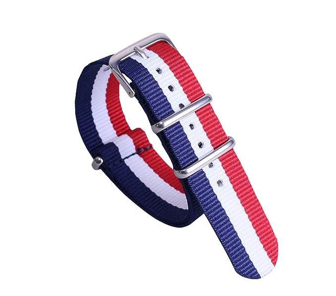 12mm azul   blanco de alta gama de lujo   rojo de la NATO nylon estilo de  lona reloj correa de reemplazo banda oscura para las niñas  Amazon.es   Relojes f8d903c08858