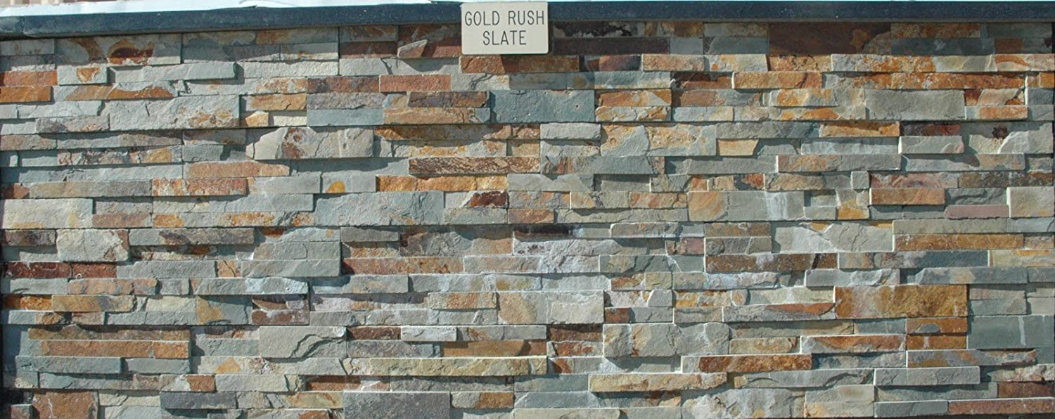 Amazon.com: Gold Rush Slate Ledger Wall Panel 6 in. x 24 in. Natural ...