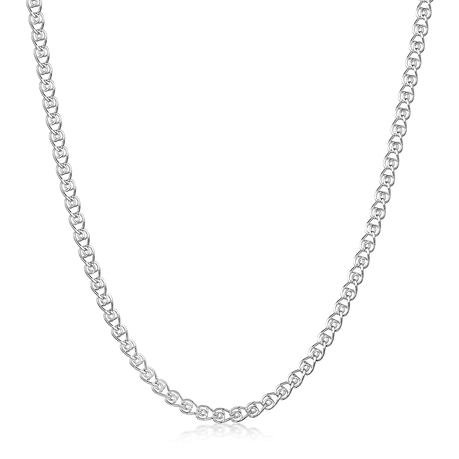 16 18 20 22 24 inch Amberta 925 Sterling Silver 2.3 mm Heart Chain Size