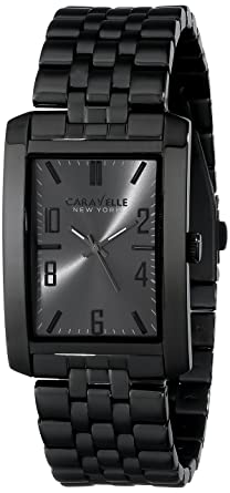Caravelle New York by Bulova Mens 45A117 Analog Display Japanese Quartz Black Watch