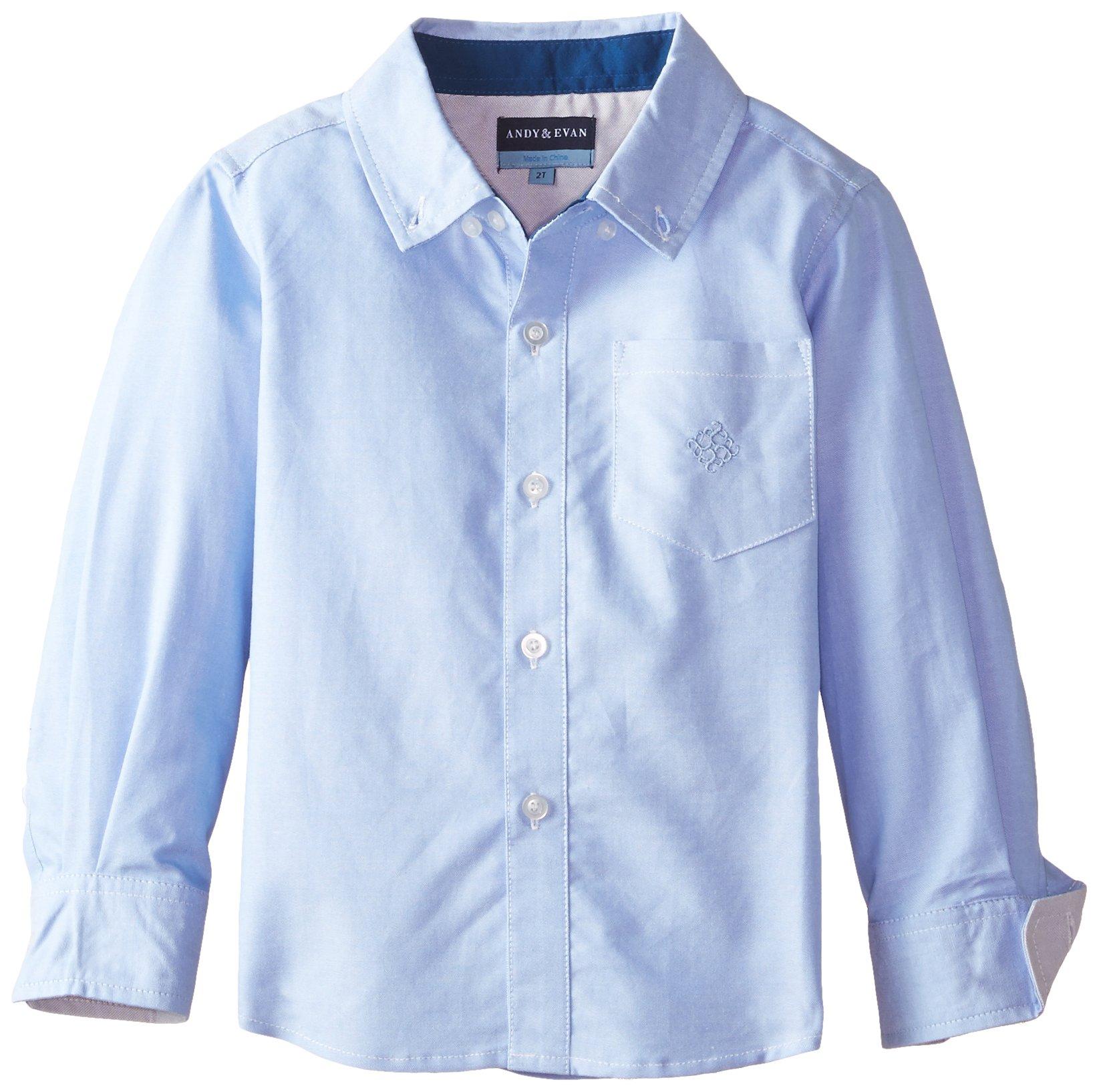 Andy & Evan Little Boys' Toddler Oxford Shirt, Light Blue, 3T