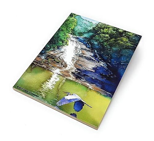Indigo Blue Landscape Ceramic Tile Cayuga Lake Landscape Trivet Gift Watercolor by Cheryl Chalmers