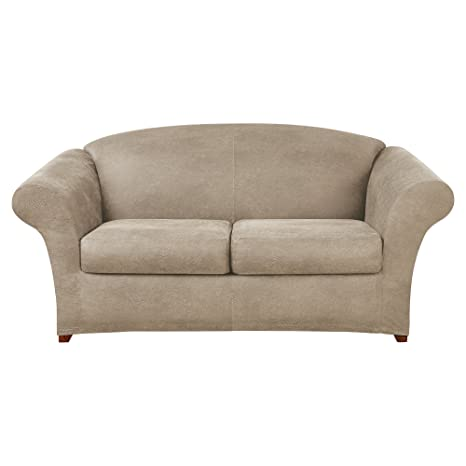 Fantastic Sure Fit Ultimate Heavyweight Stretch Leather Individual 2 Cushion Loveseat Slipcover Rustic Birch Sf44912 Onthecornerstone Fun Painted Chair Ideas Images Onthecornerstoneorg
