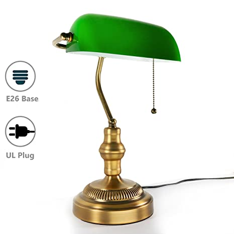 Genial Traditional Bankers Lamp, Brass Base, Handmade Green Glass Shade,Vintage  Table Light,