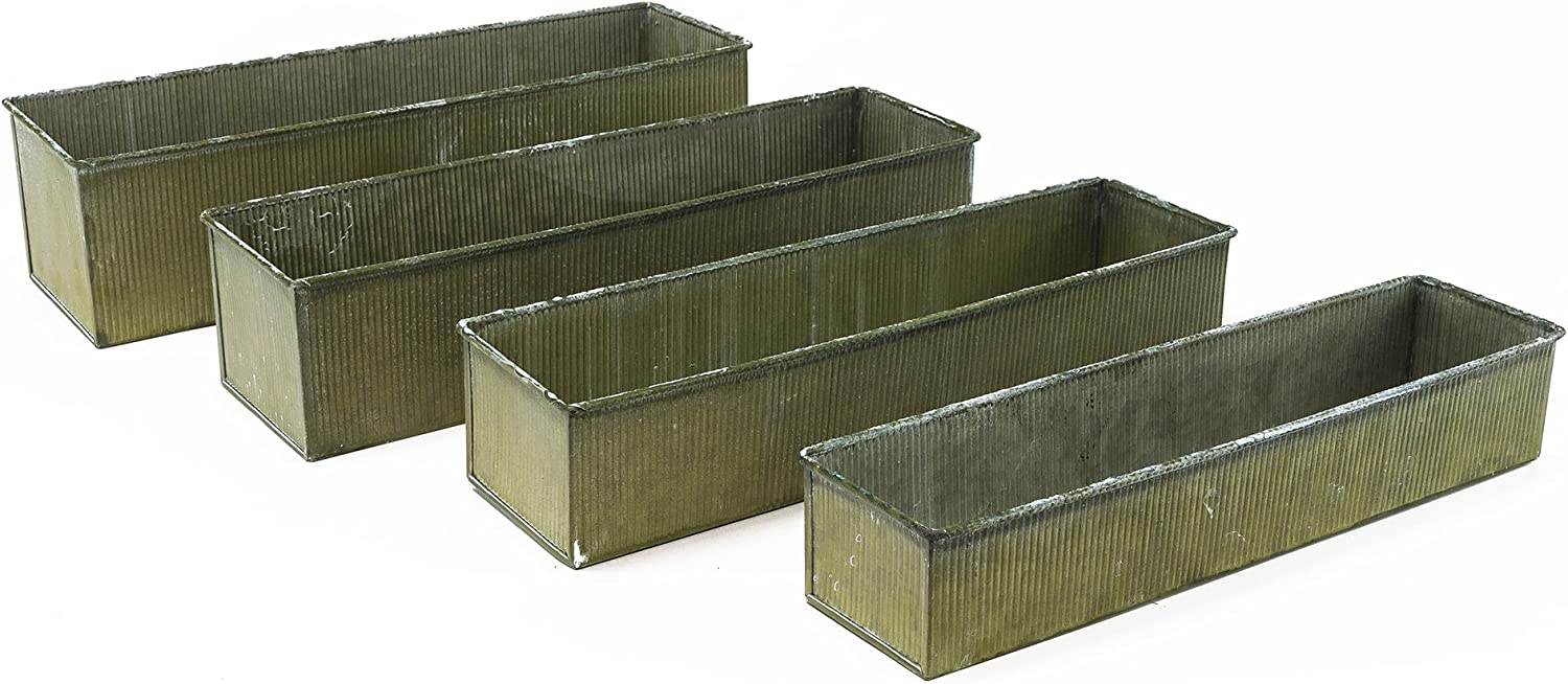 CYS EXCEL ZACB051604S4 Metal Corrugated Rustic Zinc Rectangle Set of 4 with Different Size, Gaborone