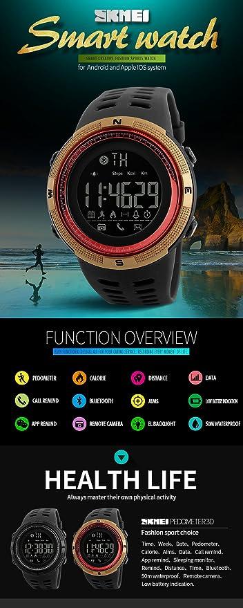 Amazon.com: Reloj inteligente con podómetro, relojes ...