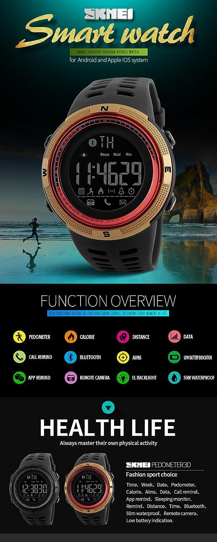 SKMEI 1250 - Reloj inteligente podómetro y medidor de calorías. Reloj de pulsera impermeable digital para deportes al aire libre: Amazon.es: Relojes