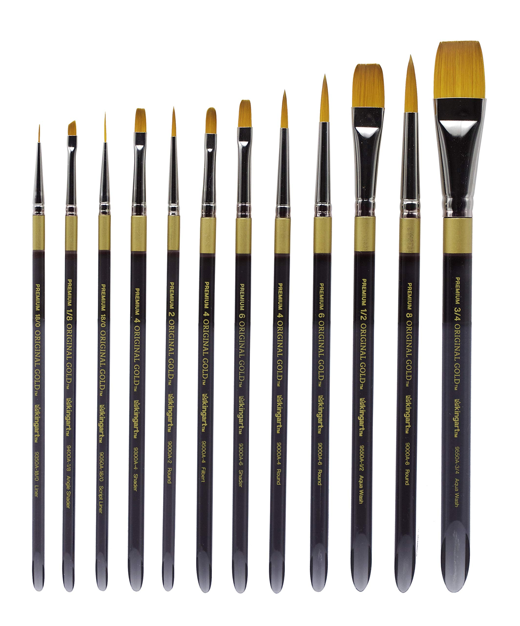 KINGART 1000D Original Golden TAKLON Acrylic Handle Set of 12 Paint Brush Set, Assorted, Black, Gold, Silver by KINGART