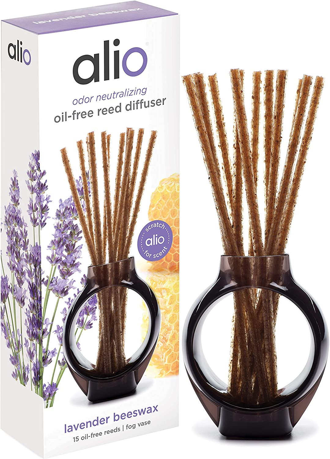 ALIO Oil-Free Reed Diffuser – Lavender Beeswax – Odor Neutralizing with Subtle Scent, Pet and Eco Friendly – Set of 15 Oil-Free Reeds and Signature Vase – No Oils, Sprays, Plug-Ins, or Flames Required