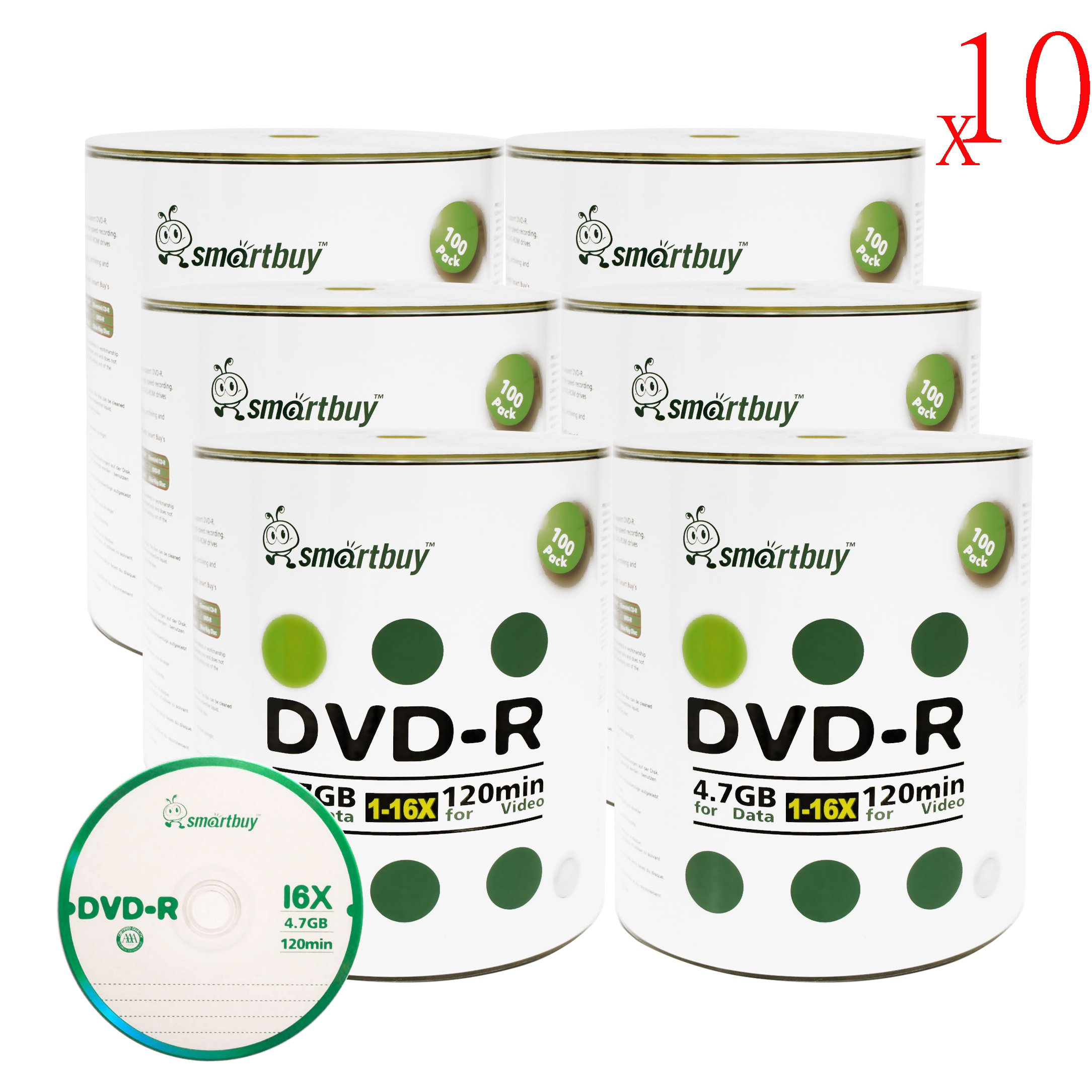 Smartbuy 4.7gb/120min 16x DVD-R Logo Top Blank Data Video Recordable Media Disc (6000-Disc)