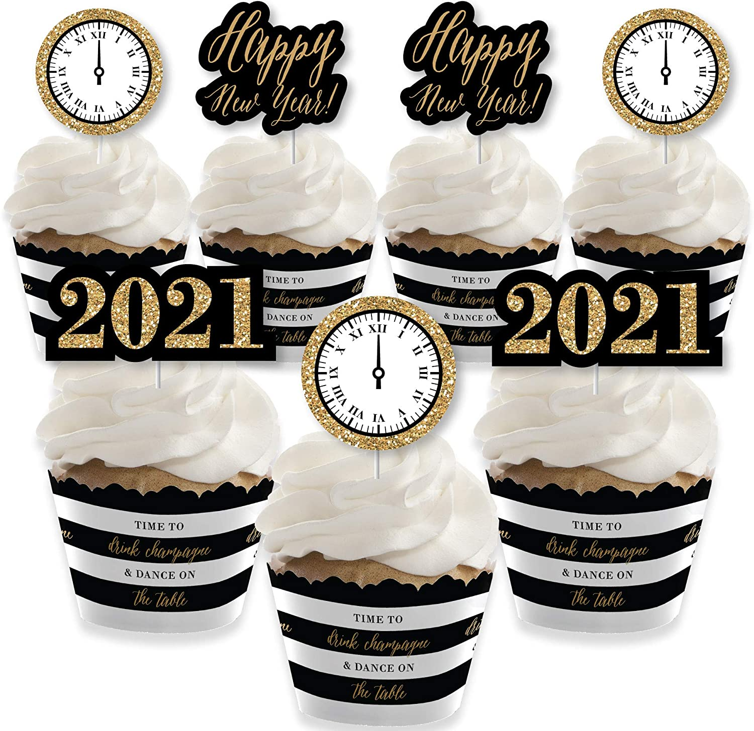 Big Dot of Happiness New Year's Eve - Gold - Cupcake Decoration - 2021 New Years Eve Party Cupcake Wrappers and Treat Picks Kit - Set of 24