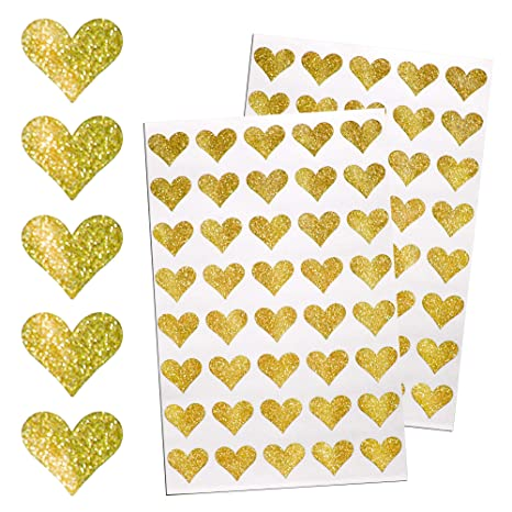 Royal Green Heart Gold Sticker Glitter Envelopes Seal Decorative Labels For Stationery And Arts 400 Pack