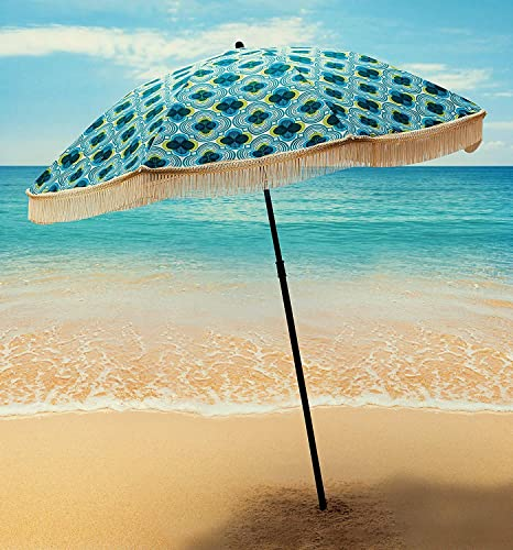 Beach Umbrella For Sand – Best Beach Umbrella Windproof Portable Sport Umbrella With Fringe, Comes With Denim Beach Umbrella Bag Features Pointed Bottom with a Sand Anchor 100 UV Sun Protection – Bahama