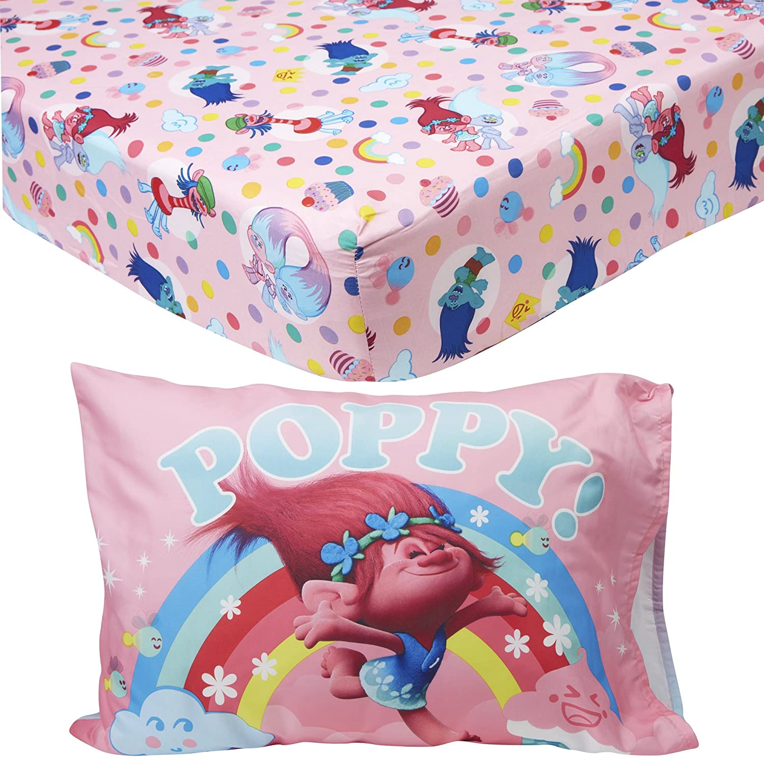 Trolls Toddler Fitted Sheet and Pillow Case Pink