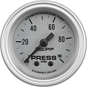 "AUTO METER (2334 Silver 2-1/16"" 0-100 PSI Oil Pressure Gauge with Panel"