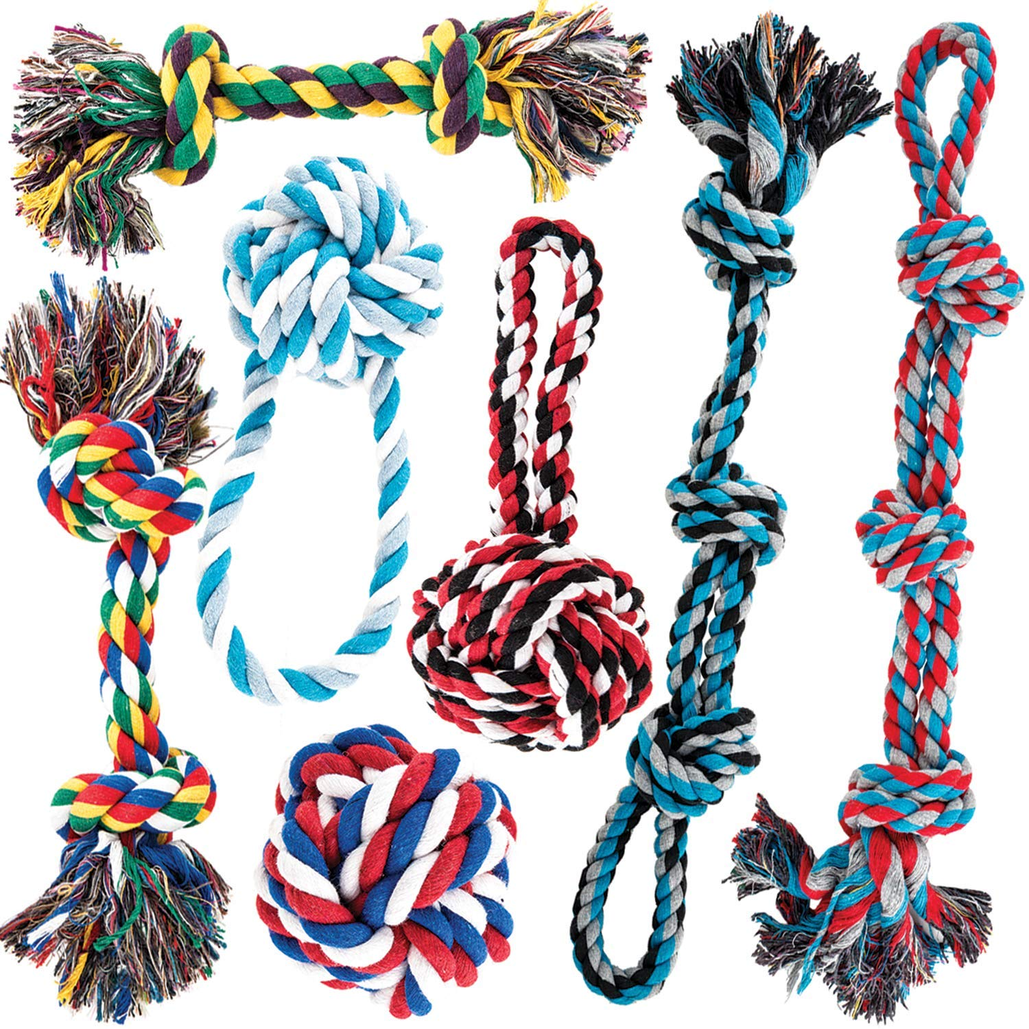 AMZpets Dog Toys for Aggressive Chewers – Set of 7 for Medium or Large Breed – Knotted, Heavy Rope for Tug of War, Fetch…