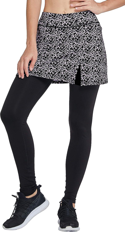 Westkun Pantalones de Falda de Mujer La Altura del Tobillo con Forro Polar Corte de Hendidura Deportes Tenis Golf Rock Legging Tela elástica 2 en 1
