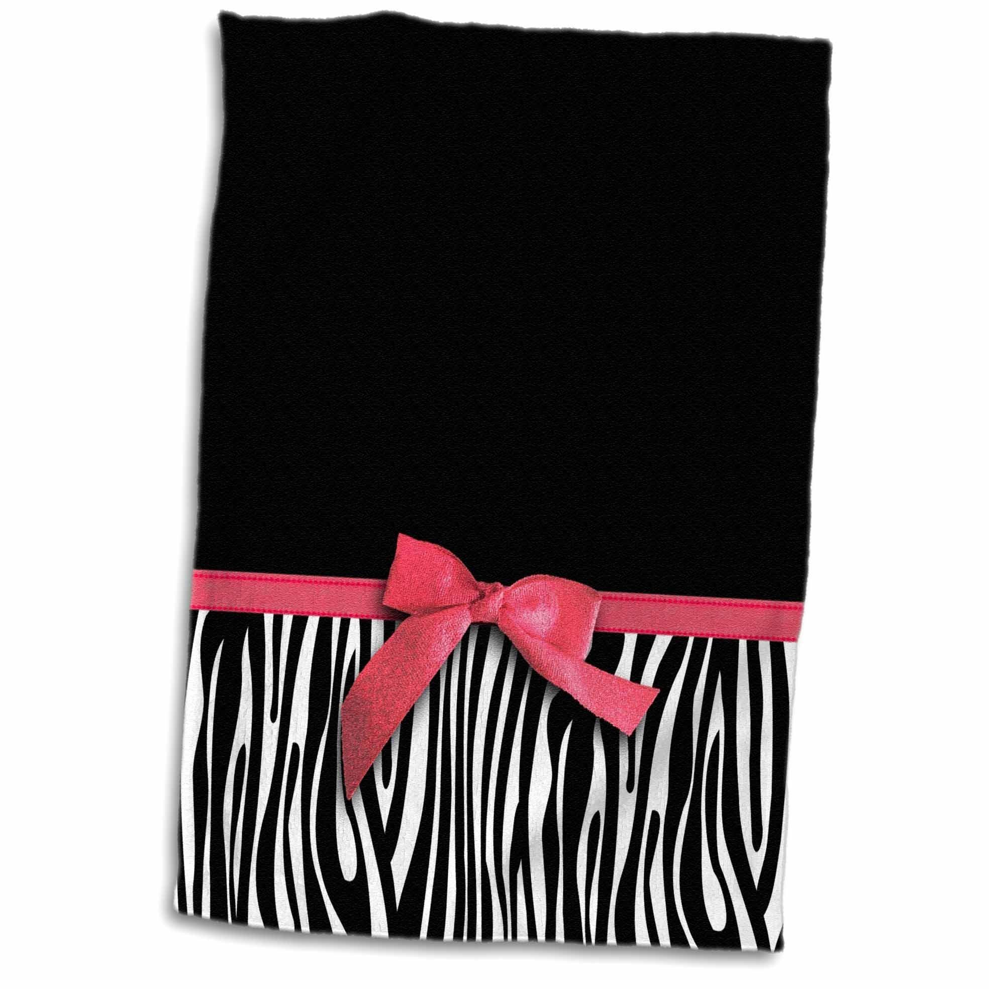 3dRose 3D Rose Black and White Zebra Stripes with Faux Red Ribbon and Bow Graphic-Stylish Classy Animal Print Hand/Sports Towel, 15 x 22, Multicolor