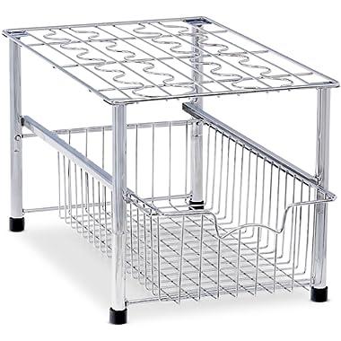 Simple Houseware Stackable Under Sink Cabinet Sliding Basket Organizer Drawer, Chrome