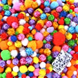 Caydo 2000 Pieces Assorted Sizes Multicolor Pompoms Glitter Pom Poms with 4 Sizes Wiggle Eyes for Halloween Hobby DIY…