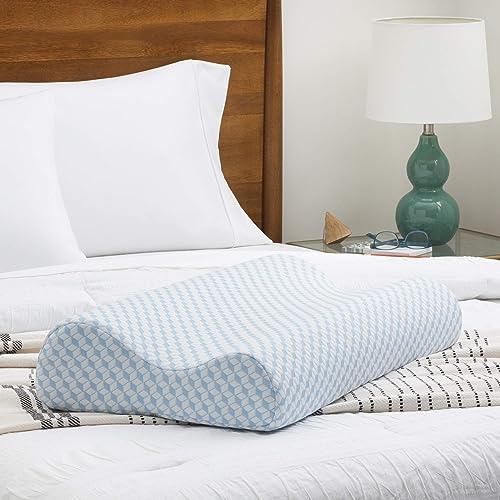 LINENSPA Orthopedic Gel Memory Foam Contour Cervical Neck Support Pillow, Queen, Blue