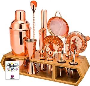 MIXKIT Cocktail Shaker Set Bar Set Bartender Kit - 19pcs Cocktail Set Bar Tools Set Bar Kit Cocktail Kit Bar sets for the home Bartending Kit with Bamboo Stand & Drink Recipe - Rose Copper