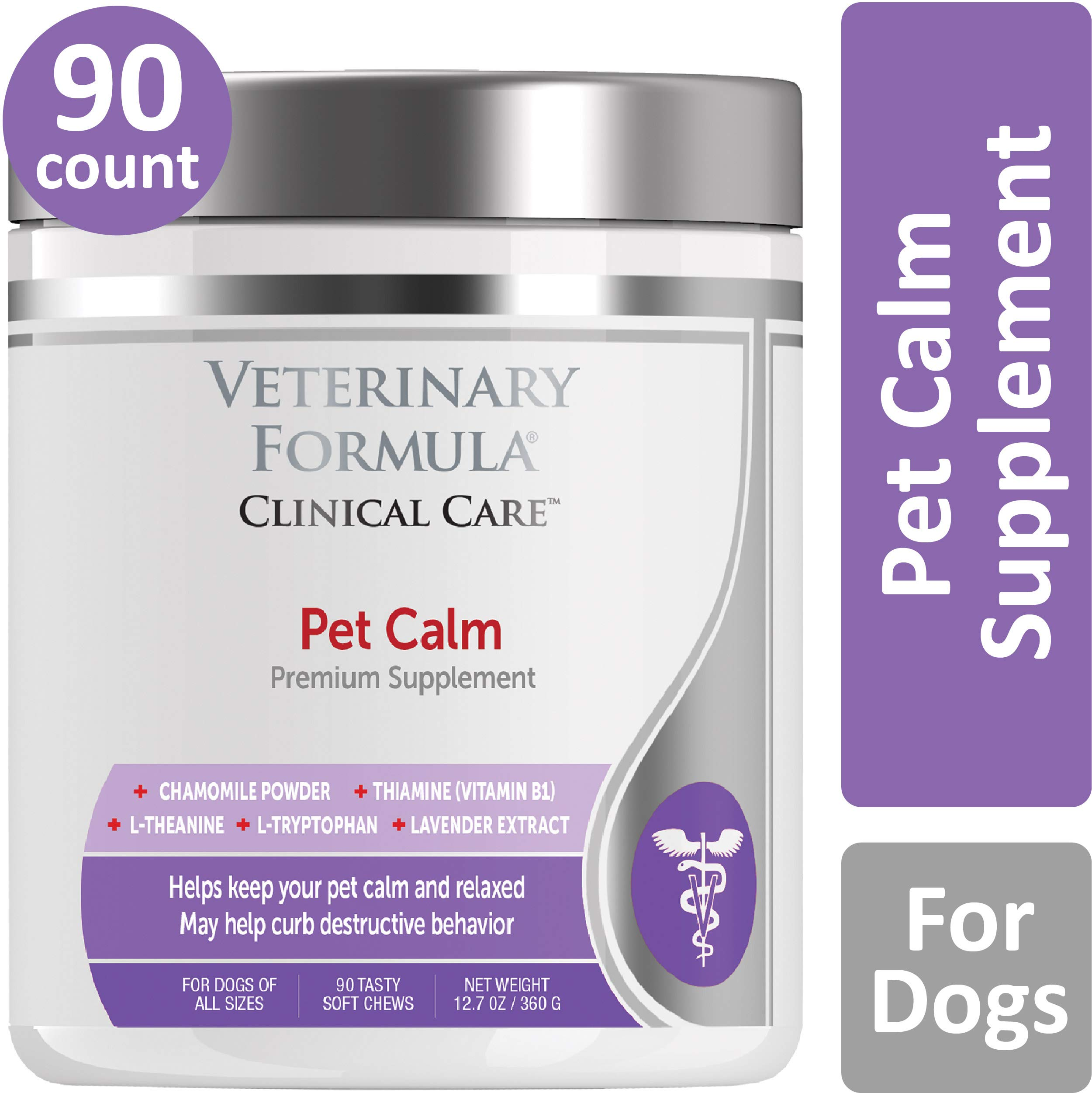 Veterinary Formula Clinical Care Premium Dog Supplement, Pet Calm, 90 Soft Chews - Pet Calming Aid, Clinically Proven Dog Supplement, Helps Reduce Hyperactivity While Promoting Relaxation by Veterinary Formula Clinical Care