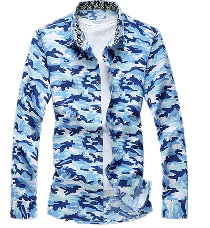 SDHEIJKY Mens Fashion Long Sleeve Shirts Causal Printing Flowers Shirt