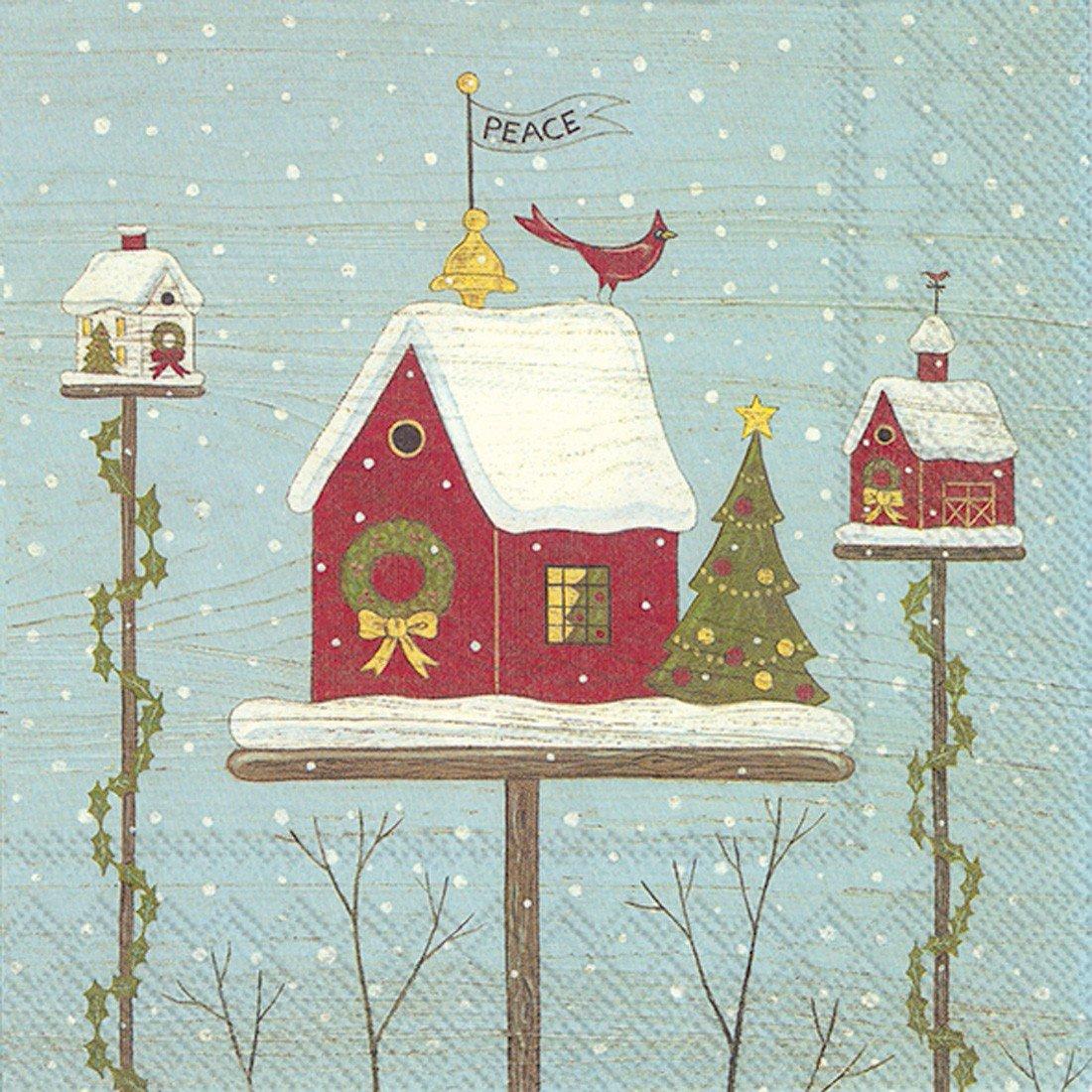 Ideal Home Range Papierservietten, Vogelhaus-Design, 20 Stück, mehrfarbig