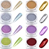 Nail Powder WENIDA 8 Jar Premium Chrome Mirror Laser Synthetic Resin Powder Manicure Art Decoration With 8pcs Eyeshadow Sticks (Color: Multi-colored)