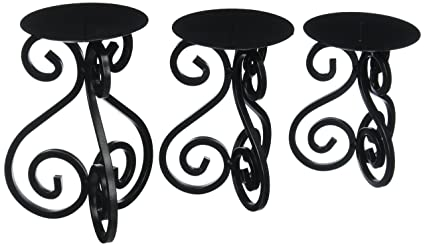 1066ce021e F.A. Decors Black Scroll work table top candle holders set of 3  Mediterranean Tuscan Decor