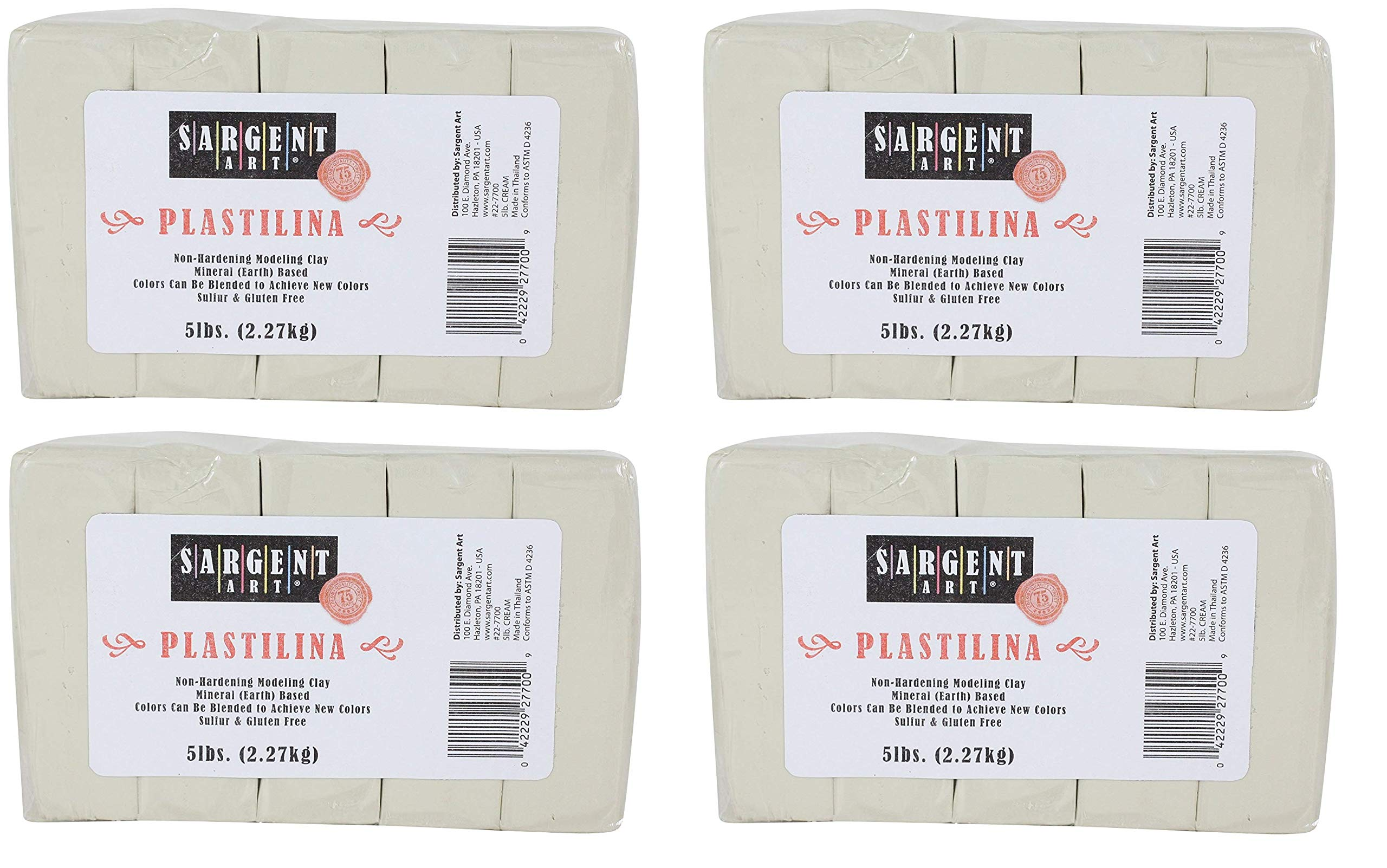 Sargent Art Plastilina Modeling Clay, 5-Pound, Cream (Pack of 4)