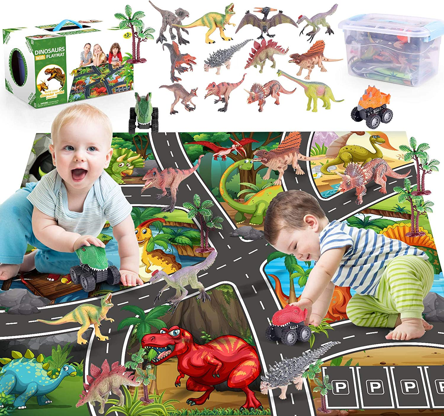 Dinosaur Toys, FANURY 12 Dinosaur Figures w/ Activity Play Mat, Trees & Pull Back Dino Cars, Including T-Rex, Triceratops Dinosaur Playset, Gifts for 3 4 5 6 7 Years Old Kids Boys Girls