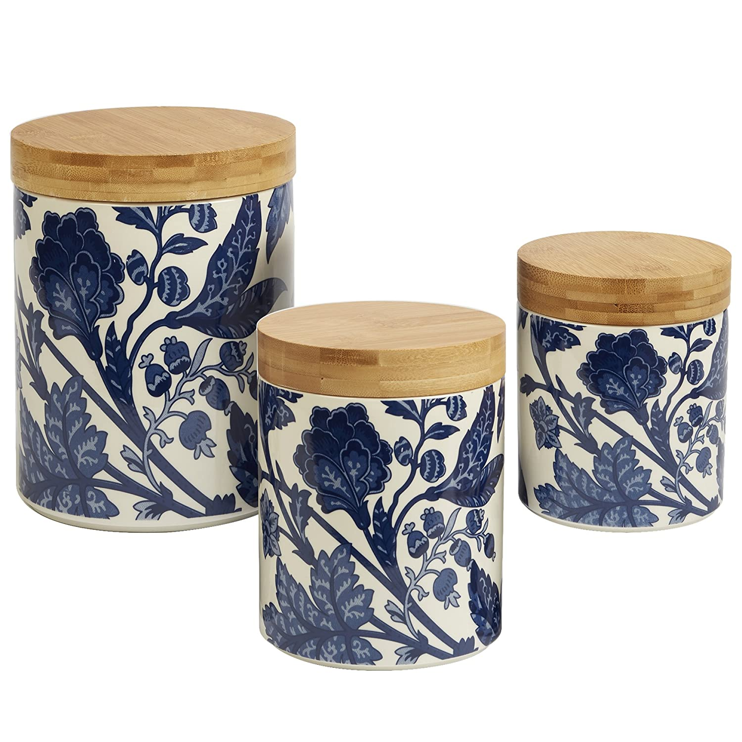 Certified International 24353 Blue Indigo Canister Set with Wooden Lids, Multicolor