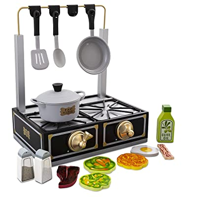 FAO Schwarz Tabletop Stove Playset, Includes Pot & Pan Props, Spatula & Spoon Prop, 6 Assorted Foodpiece, Solid Wood: Toys & Games