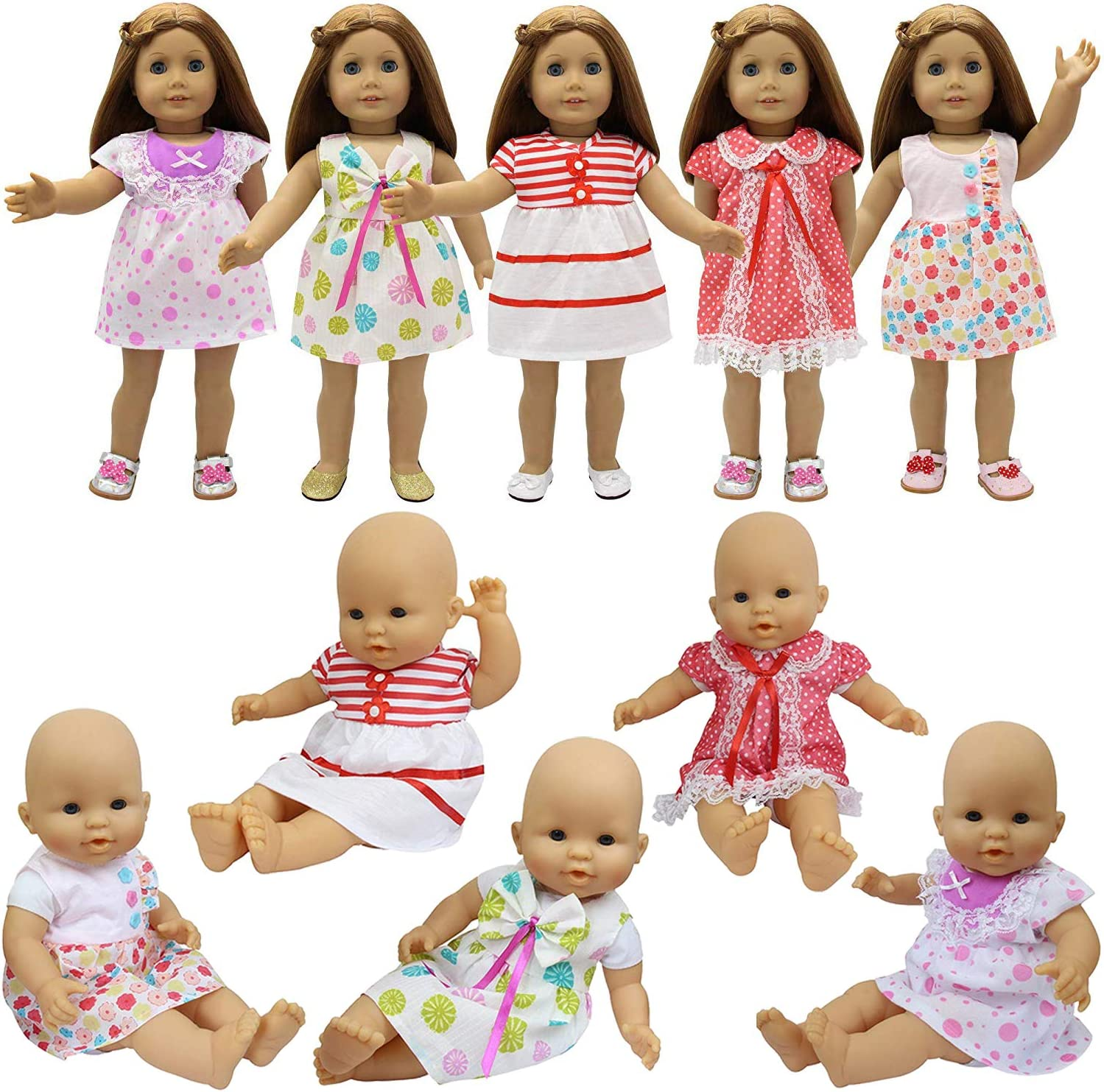 Amazon.com: ZITA ELEMENT 5 Pcs Fashion Cute Dresses for 14 Inch to 16 Inch  Baby Doll Clothes, American 18 Inch Girl Doll and Other 18 Inch Doll Clothes  Outfits Xmas Gift: Toys & Games