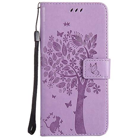 pinlu® Flip Funda de Cuero para Huawei Ascend P7 Carcasa con Función de Stent y Ranuras con Patrón de Gato y Árbol Cover (Luz púrpura)