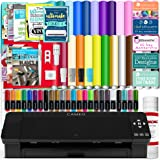 Silhouette Black Cameo 4 Starter Bundle with 26 Oracal Vinyl Sheets, Transfer Paper, Class, Guides and 24 Sketch Pens