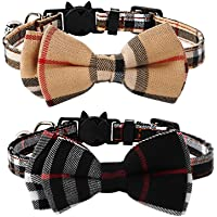 Imikoko Pet Pack of 2 Cat Collars,Adjustable Breakaway Cat Collar Designed with check pattern bowtie and sliver bell…