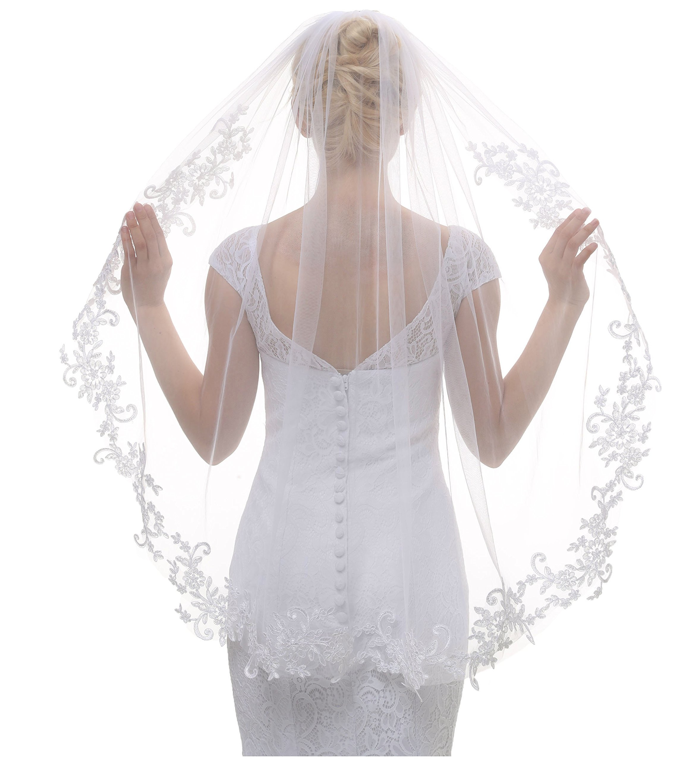 AIBIYI 1 Tier Lace Fingertip Veils for Brides with Comb ABY-V10 (Style 2 - Ivory, Free)