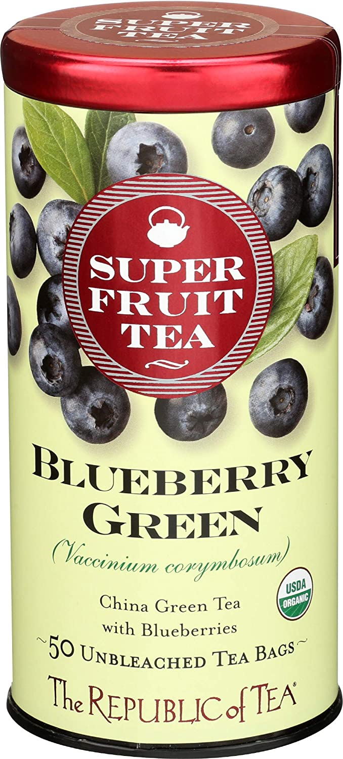The Republic of Tea Organic Blueberry Green Superfruit Tea, 50 Tea Bag Tin