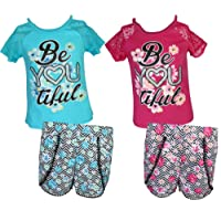 dollhouse Girls 4-Piece Graphic Top and Short Set