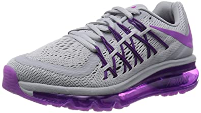 75d2a14a5c Nike Women's Air Max 2015 Wolf Grey, Black and Vivid Purple Running Shoes -  3