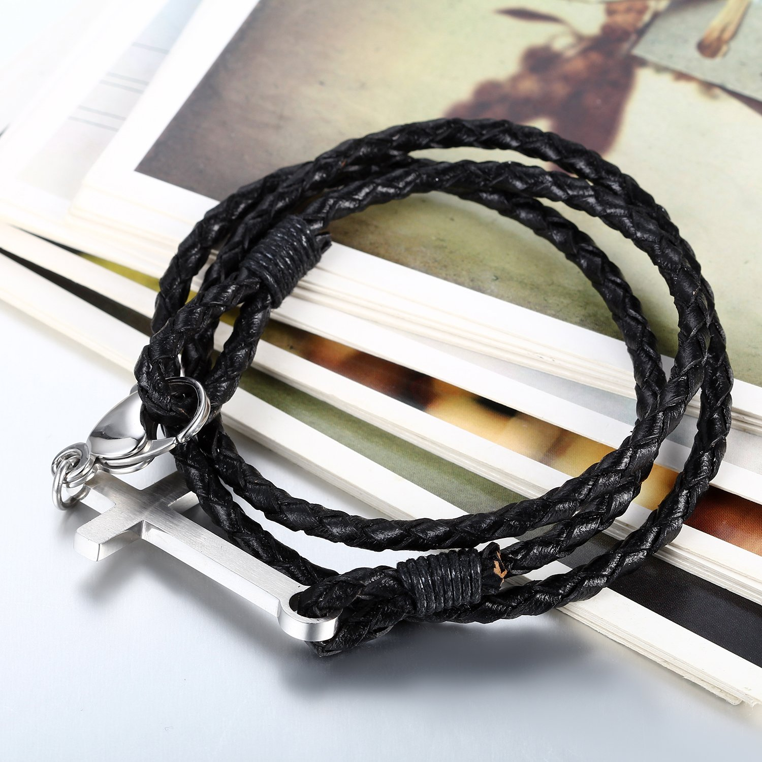 Flongo Mens Vintage Stainless Steel English Bible Lords Prayer Cross Braided Leather Cuff Bracelet 8.5 inch