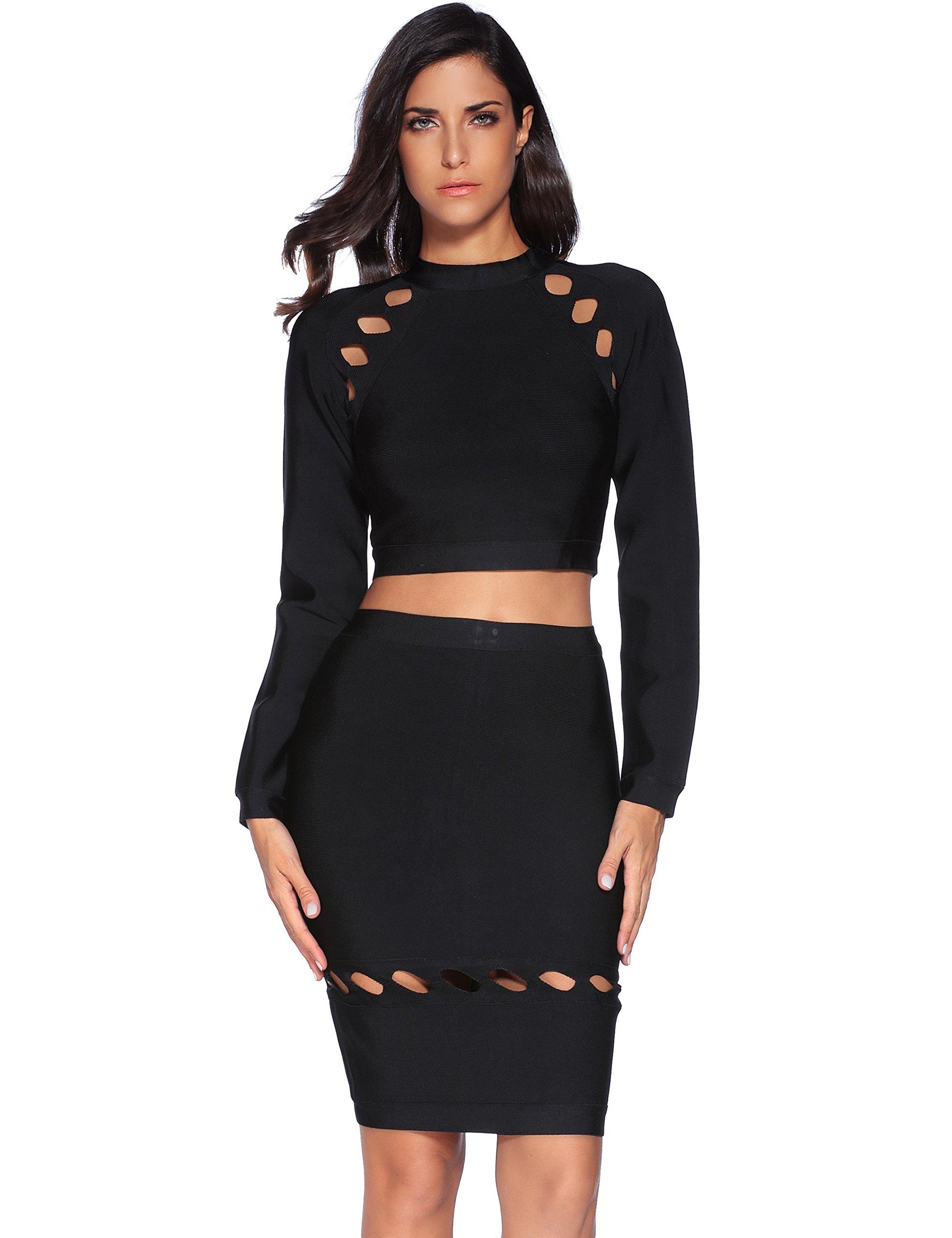 Meilun Women's Rayon 2 Pcs Long Sleeve Crop Top Split Skirt Set Bodycon Bandage Party Dress Large Black