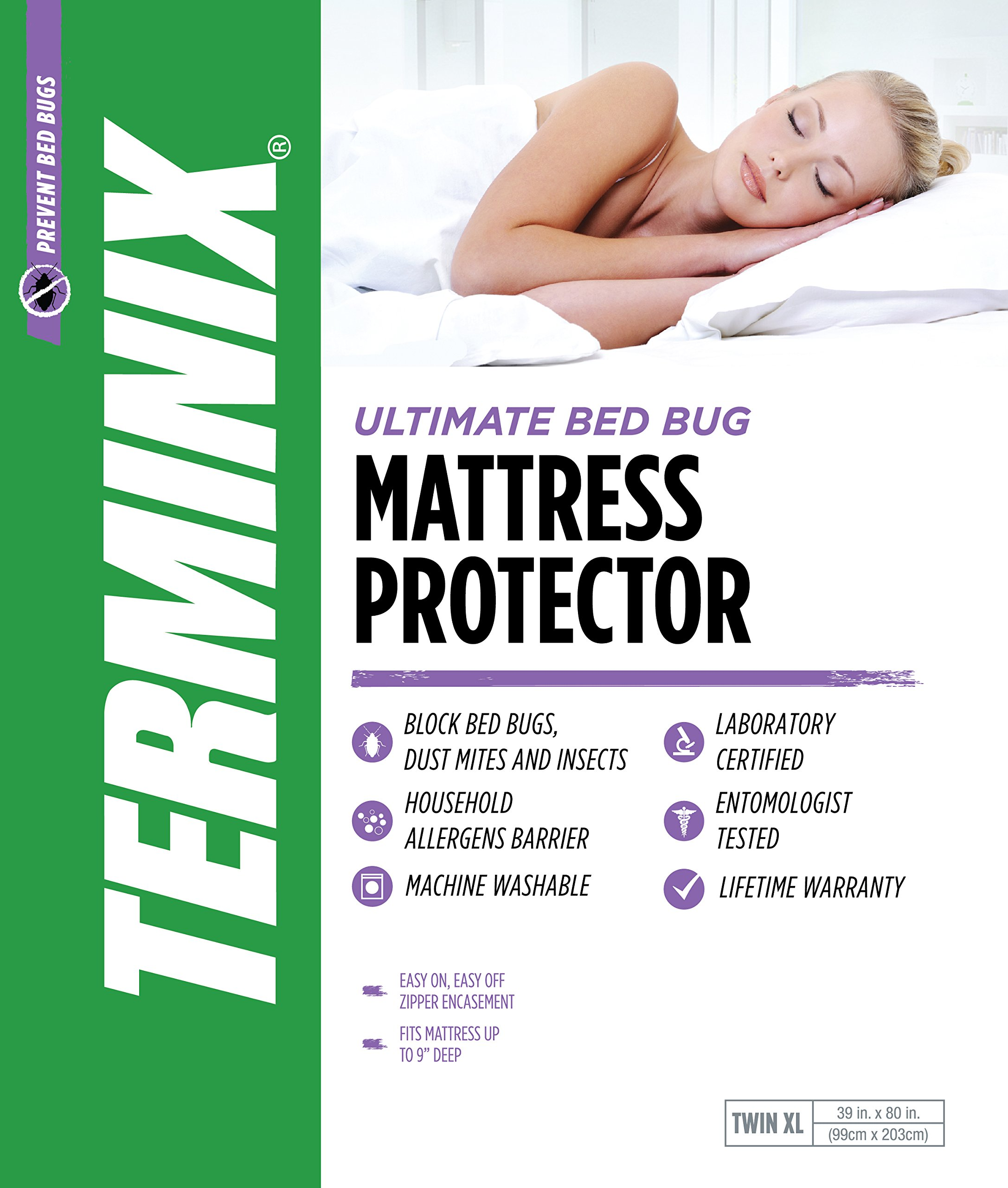 TERMINIX Ultimate Mattress Protector - 6-Sided Water-Resistant Zippered Encasement Blocks Bed Bugs, Dust Mites, Insects, & Allergens - Machine Washable - up to 11'' - Twin XL