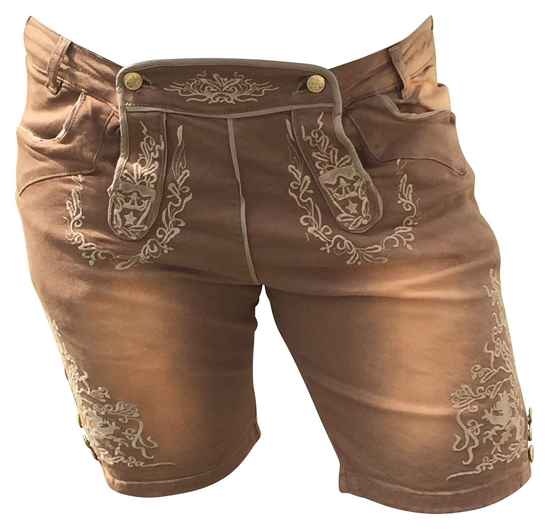 Trachtenjeans Jeans Herren Bermuda Trachten Trachtenhosen Lederhosen Optik Braun Baumwolle