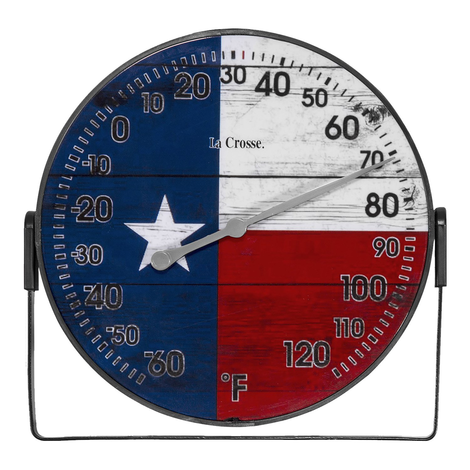 104-105TX La Crosse 5'' Texas Flag Indoor/Outdoor Dial Thermometer with Bracket
