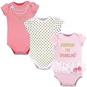 Little Treasure Baby Cotton Bodysuits, Sparkling 3Pk Short Sleeve, 0-3 Months (3M)